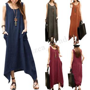 a6fd6c4e55b5f UK STOCK Women Sleeveless Asymmetric Hem Casual Loose Sundress Dress ...