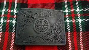 TC-da-uomo-fibbia-per-cintura-Kilt-SPIRALE-CELTICA-TEMA-finitura-nera-Highland