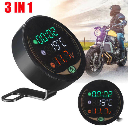 3-in-1 Motorcycle Electronic LED Digital Thermometer Voltmeter Time Temp Gauge