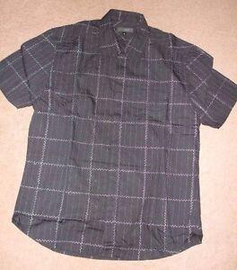 Next-Men-039-s-Black-check-short-sleeve-Shirt-Size-M