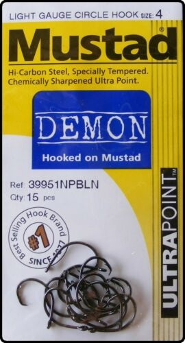 Mustad 39951 NP BLN Light Gauge Wire Demon Circle Fishing Hooks