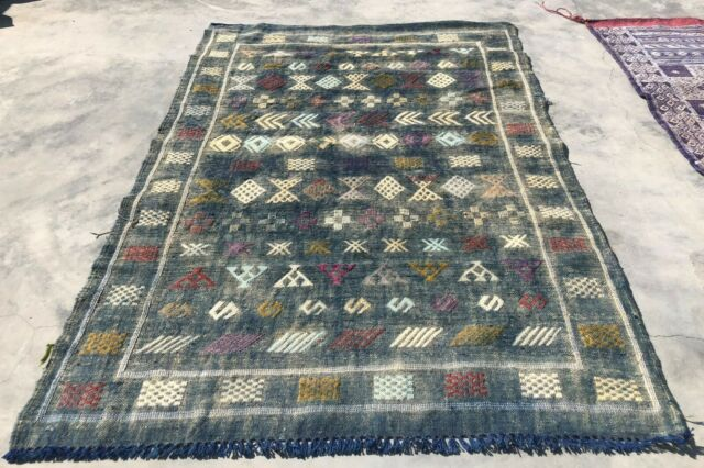 Boucherouite Vintage Moroccan Hand Knotted Wool Yellow Blue Red Area Rug For Sale Online Ebay