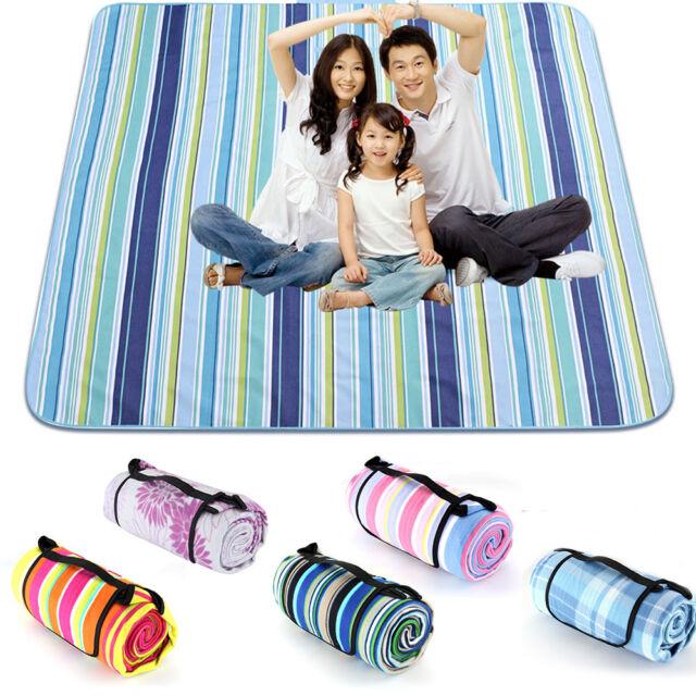 Large Picnic Blanket Roll Up Mat Big Rug Navy Tartan Outdoor Travel Lawn Family