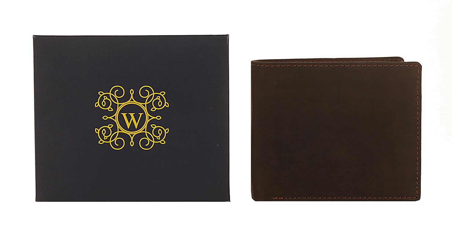 New Woodbridge RFID BLOCKING Real Distressed Hunter Leather Wallet 4050 Brown