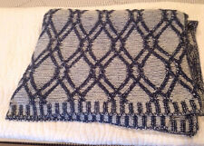 """LANDS END NAVY BLUE NAUTICAL CABLE KNIT WHITE YARN DYED THROW BLANKET 50"""" x 60"""""""
