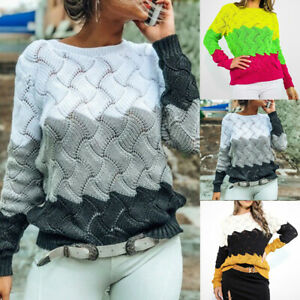 Femme-Grand-Taille-Patchwork-Pulls-Casual-Manches-Longues-Tricote-Hauts-Knitwear