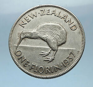 1937-NEW-ZEALAND-under-UK-King-George-VI-Silver-Florin-Coin-w-KIWI-BIRD-i68319