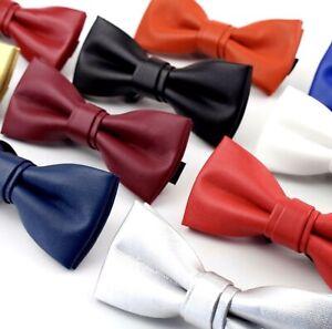 Cuir-Noeud-Papillon-Homme-Femme-Qualite-Marron-Noir-Blanc-Rouge-Bleu-Argent-Dore