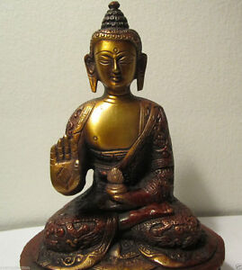 GIFT-amp-DECOR-VINTAGE-COPPER-FINISH-BUDDHA-BLESSING-SAKYAMUNI-BUDDHA-STATUE