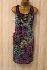 ASOS Bugle Bead Embellished Tribal Colourful Sleeveless Tank Party Dress 12 40