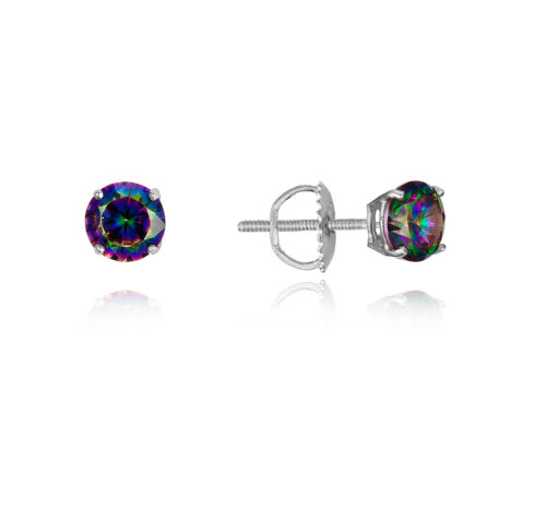 .925 Sterling Silver 3mm~8mm Rainbow Stud Children Screwback Baby Girls Earrings