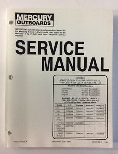 Details about Service Manual Mercury 4 4 5 7 5 9 8 20 40 Sailpower Outboard  NEW 90-86136 1993