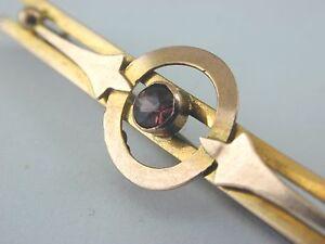 Antique-9ct-rose-gold-almandine-garnet-bar-pin-brooch-Art-Nouveau