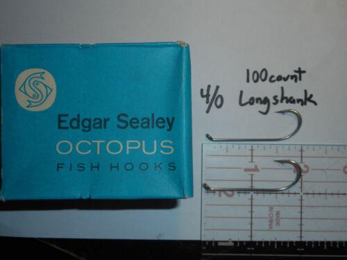 100 OCTOPUS FLY BAIT HOOKS 4//0 SEALY CINN BASS NICKEL LONG SHANK ENGLAND A++
