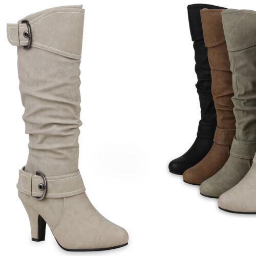 36-41 Elegante Damen Stiefel Warm Gefütterte Winter Boots Schuhe 98232 Gr