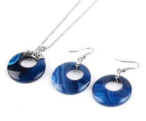 S865E Set Achat blau Kreis Kette mit Anhänger Ohrring versilbert