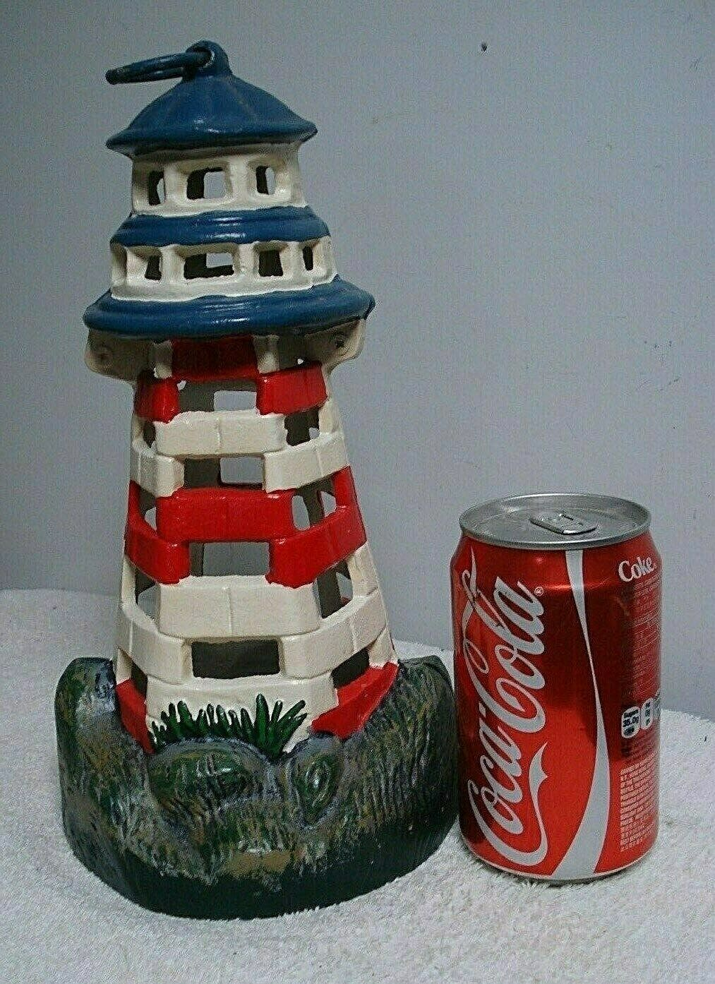Cast iron lighthouse Lantern Metal Sculpture Tea Light Sea Ocean Marine hanging