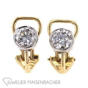 Details zu Ein Paar Solitaire Ohrclips, Zargenfassung Brillant Ohrringe