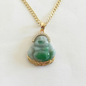 14k yellow gold laughing buddha natural jade pendant p297 ebay image is loading 14k yellow gold laughing buddha natural jade pendant aloadofball Image collections