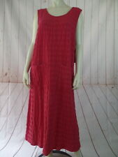 El Huarache Cottons Dress S M New Retails $78 Red Textured Cotton Shift Jumper