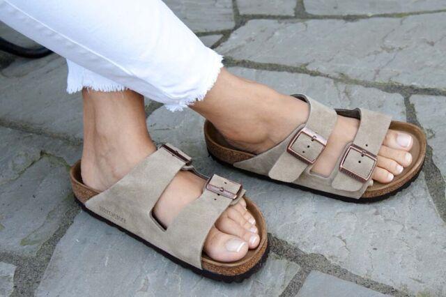 Birkenstock Sandals ARIZONA Suede Leather taupe regular Soft Footbed NEW