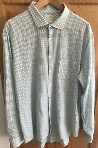 Billy-Reid-Mens-Button-Down-Shirt-standard-cut-blue-cream-plaid-Size-XXL-2XL