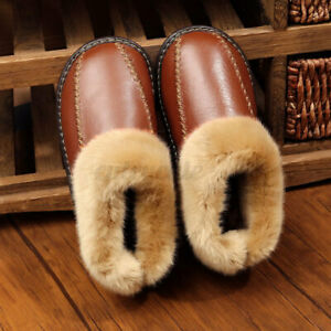 US-Men-Winter-Warm-Indoor-Home-House-Slippers-Closed-Toe-Fur-Leather-Shoes-USA