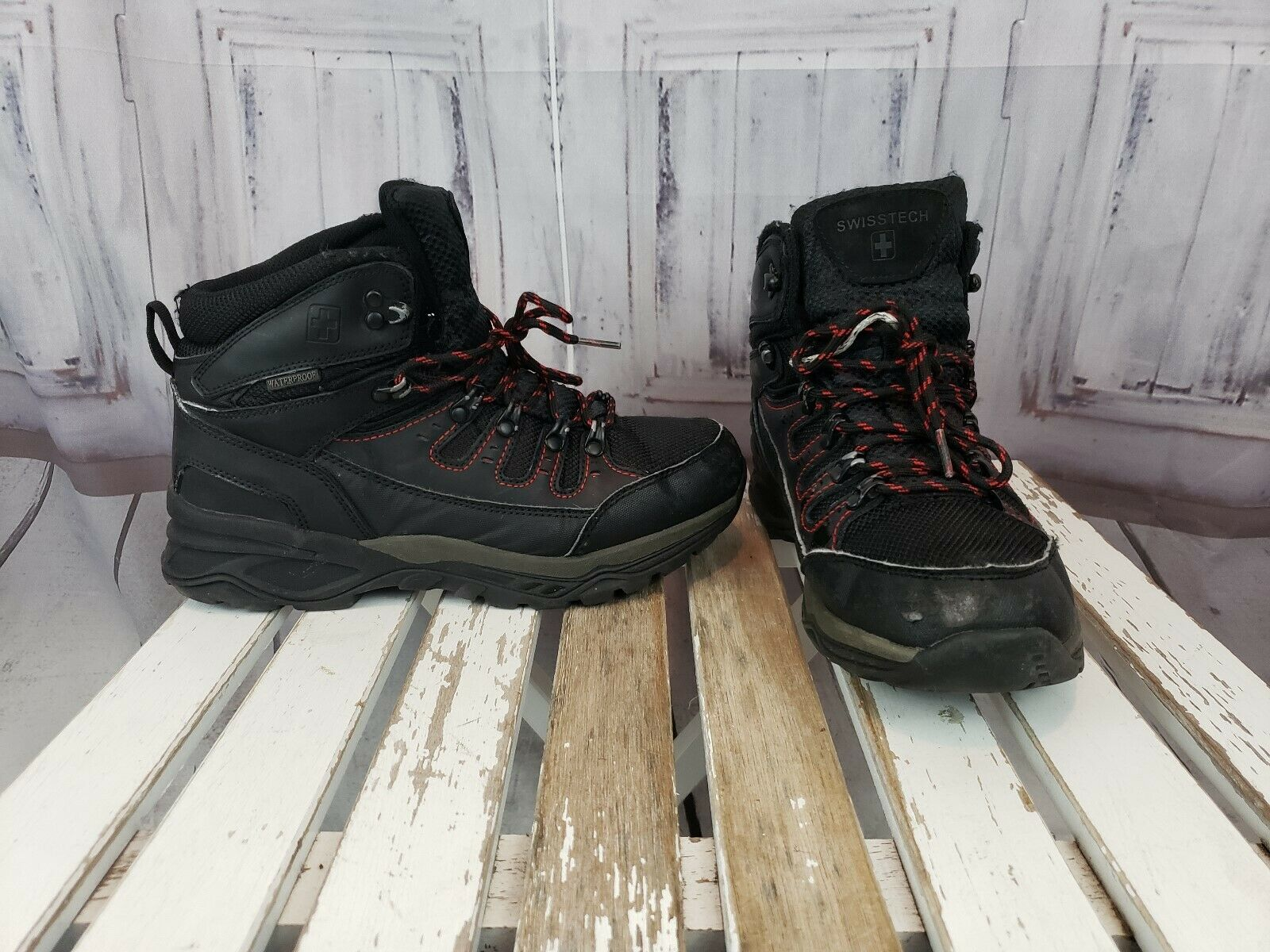 Mens Swiss Tech Waterproof Black Winter Snow Casual Daily shoes Boot Size 7.5