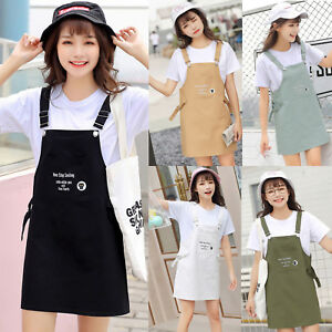 6055166f27 Image is loading Women-Girls-Korean-College-Casual-Dungaree-Overall-Dress-