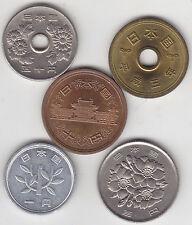 Japan - 1, 5, 10 ,  50 , 100  Yen Coin Set - 5 Different Coins