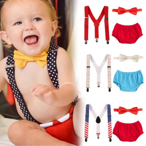 3pcs Baby Boy 1st Birthday Cake Smash Outfits Photography Photo Props Costume