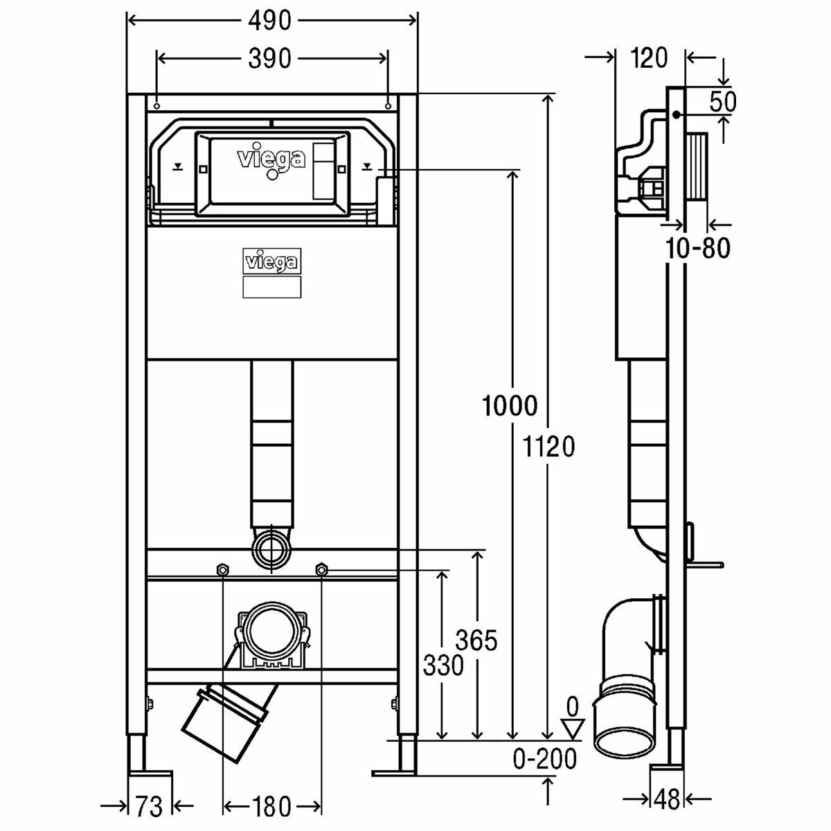 Viega Prevista Dry 771997 WC Vorwandelement 112cm verstellbar barrierefrei 8521