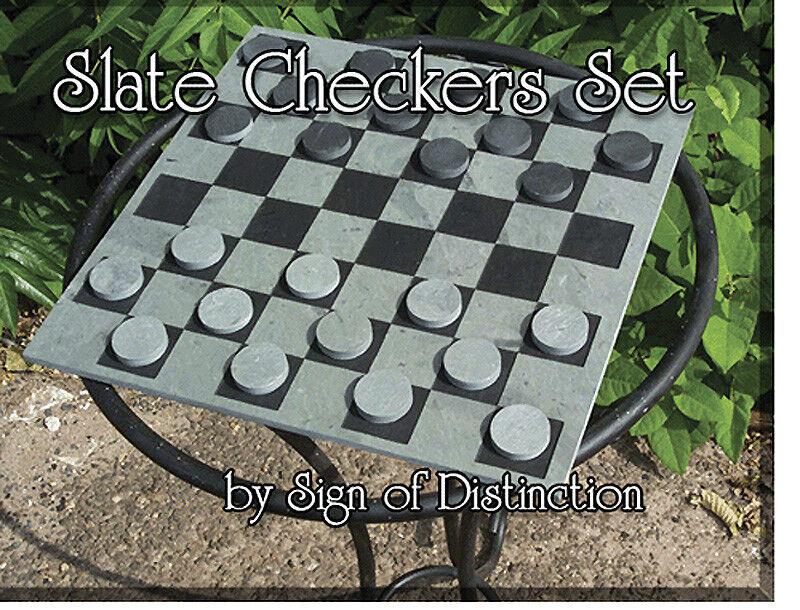 100% Natural Pizarra de tablero de ajedrez & Damas set-se envía el mismo día hábil y gratis