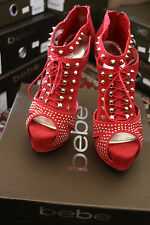 bebe VERONICA RND-CHINESE RED HEELS SIZE 8