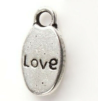 Word Charms LOVE Pendants Silver Awareness Inspirational 15mm Lot of 20