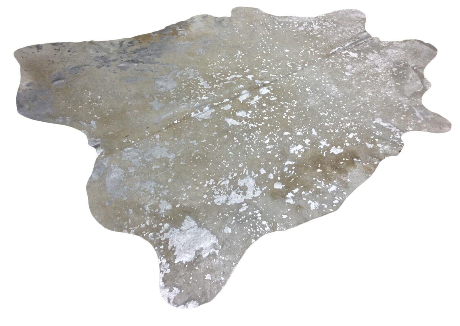 Peau rinderfell Metallic gris clair/beige argent-environ 225 cm cm, X 194 cm, cm Neuf, rug fec5c1