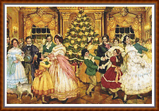 "'THE CHRISTMAS BALL' Cross Stitch Chart (22""x15"") Detailed/Xmas/Victorian NEW"