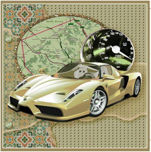 Cream coloured Ferrari Birthday card for the men or boys