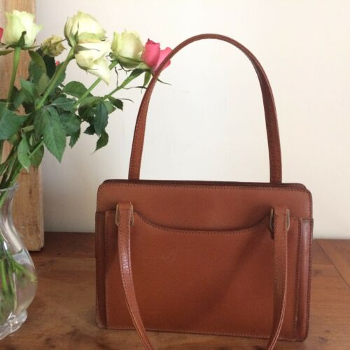 Cuir Fermoir Sac Brown Fauve Handbag Main Leather Cadre Vintage Vimar À qqO7Y