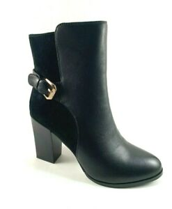 Passaggi HL9420-8 Black Suede Leather Low Heel Dress Booties
