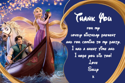 Envelope Personalised Princess Rapunzel Tangled Birthday Party Thank You Cards