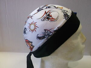 Schampa-Zandana-Adults-White-Tattoo-Print-Bandana-Motorcycle-Headgear-BC35176-T