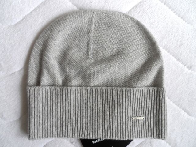 Diesel Cashmere   Wool Lux Light Grey Beanie Hat Toque Womens Femme Tags  Italy for sale online  053f9f8e3d8