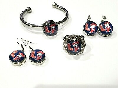 Earrings Bracelet FSU Florida State Seminoles Snap Jewelry Various styles  Ring