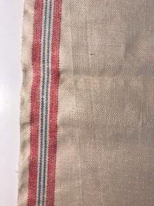 Details about Vintage Linen Unfinished Dish Kitchen Tea Towel Fabric w/ Red  & Blue Stripes