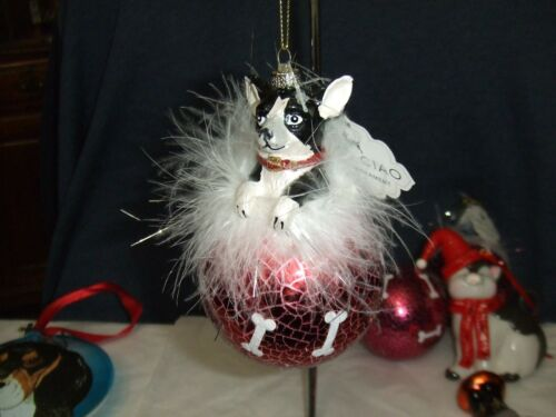 FANCY GLASS CHRISTMAS TREE ORNAMENTS FEATHER ROUND TERRIER DOG  #234