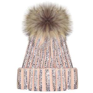 6a6a991b7ea X17 New Ribbed Studded Diamante Diamond Beanie Hat Fur Bobble Pom ...