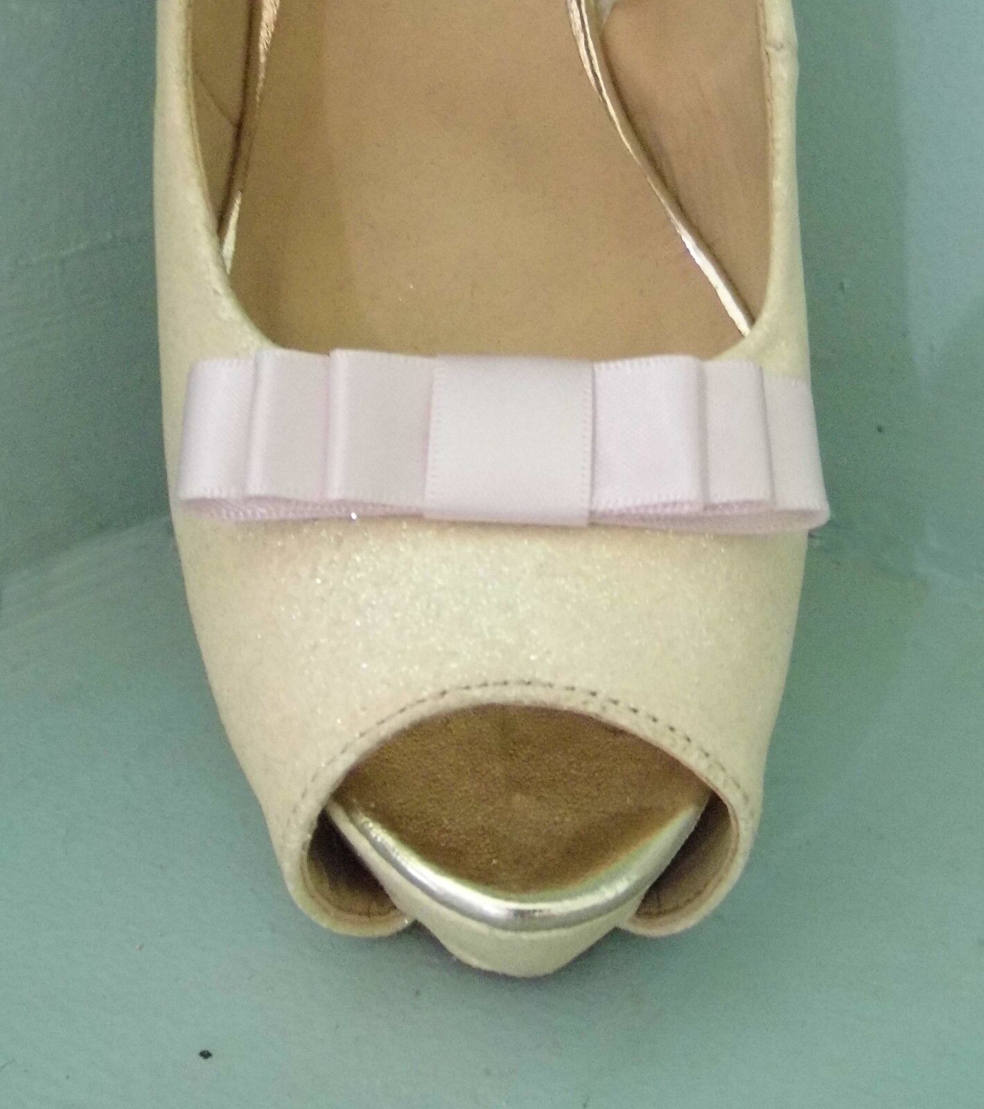 2 Small Ice Pink Triple Bow Clips for Shoes - other colours on request