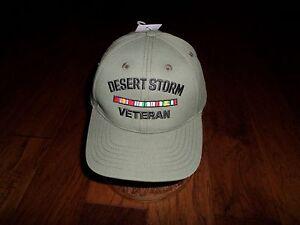 DESERT STORM VETERAN CAP MADE IN USA WITH RIBBONS MILITARY HAT BASEBALL CAP