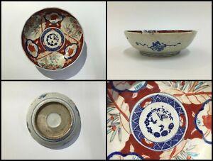 Japanese-Pottery-Dish-Plate-Vintage-Imari-Ware-Hand-Paint-Flower-Landscape-Z047